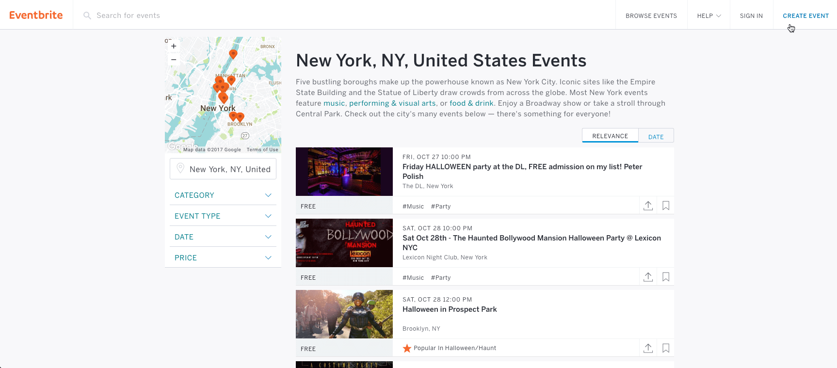Eventbrite Image of Events in New York