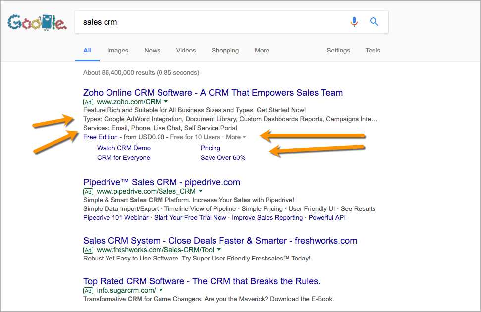 Example Screenshot showing Google Adword Extensions for Sales CRM