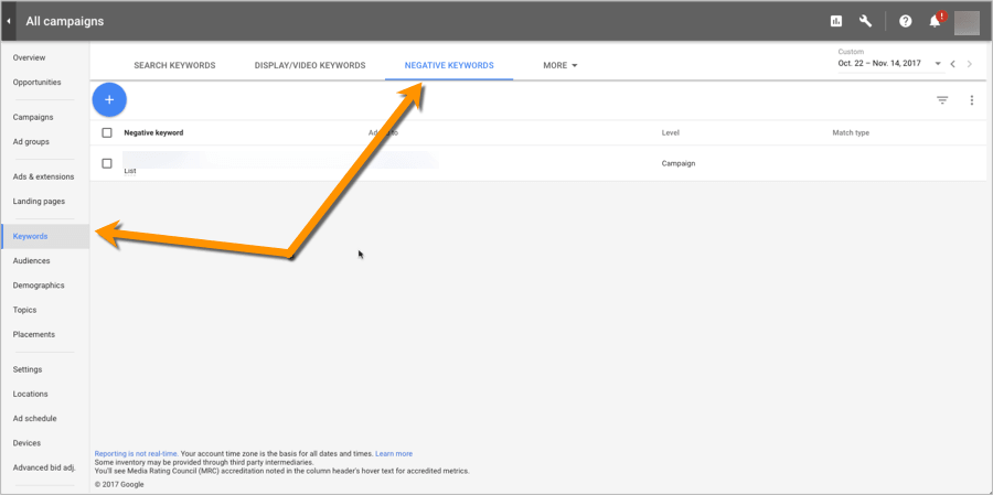 Screenshot of where Negative Keywords are located in Google Adwords