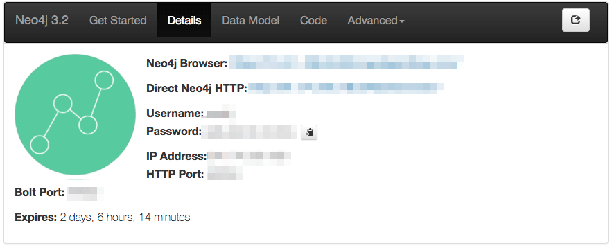 Neo4j Sandbox Details Panel