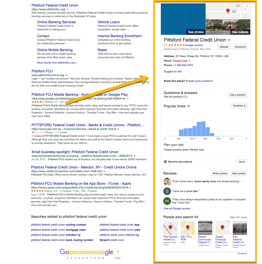 Example showing Google Places Setup correctly using Pittsford Federal Credit Union
